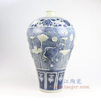 RZNI05-景德镇陶瓷 元青花雕刻鱼草 仿古手绘  海水波浪纹 牡丹 梅瓶