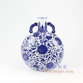 RZNK01-景德镇陶瓷 仿清手绘青花缠枝莲纹扁瓶 古玩摆件收藏