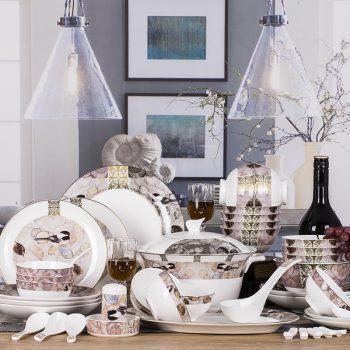 WEIYI-02景德镇欧式骨瓷餐具套装陶瓷器创意碗盘碟勺家用结婚送礼58头思叶