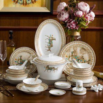 WEIYI-03景德镇陶瓷骨瓷餐具碗盘碗筷中式家用套装结婚送礼 58头罗马假日