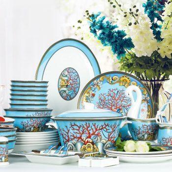 WEIYI-04景德镇陶瓷高端58头骨瓷餐具套装欧式珐琅彩御窑碗盘套装海洋天堂