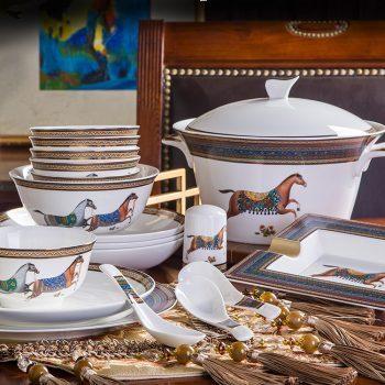 WEIYI-06景德镇陶瓷骨瓷餐具碗碟简约高档美式碗盘 家用送礼 60头双福马