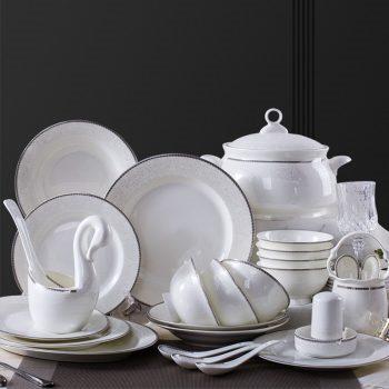 ZPK-212景德镇餐具套装家用骨瓷碗碟欧式碗盘筷套装组合58头如意浮雕扒花