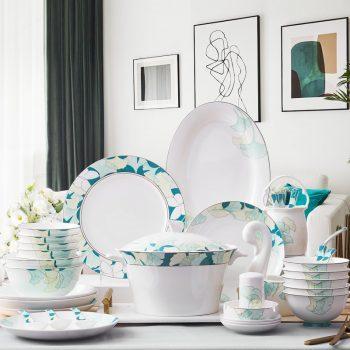 ZPK-213景德镇餐具套装韩式碗碟套装家用陶瓷碗骨瓷碗筷盘子创意58头银杏