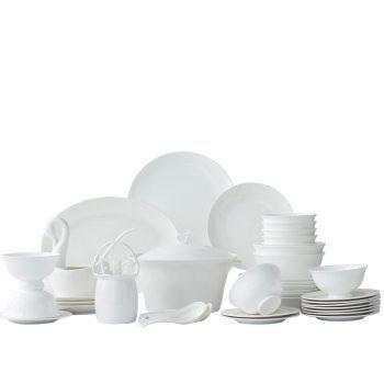 ZPK-217景德镇陶瓷餐具套装釉下彩碗盘家用纯白简约骨瓷碗筷58头圆梦纯白