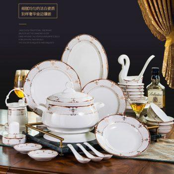 ZPK-218景德镇56头碗碟餐具套装家用欧式骨瓷碗筷陶瓷套碗盘子组合巴洛克