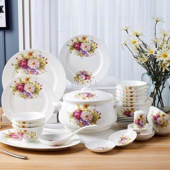 ZPK-220景德镇陶瓷欧式西式骨瓷套碗碟套装结婚送礼骨瓷餐具套装56头油画