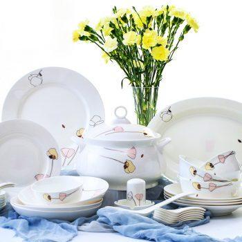 ZPK-221景德镇陶瓷碗具56头骨瓷餐具套装碗盘家用碗碟套装简约清新俏佳人