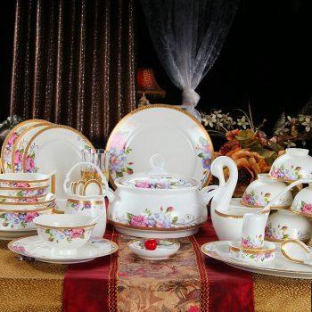 ZPK-222景德镇陶瓷餐具套装56头骨瓷如意金边中韩式碗盘碟套装礼品