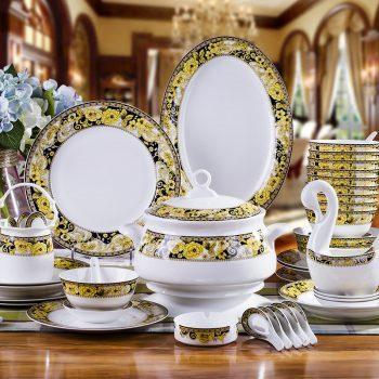ZPK-225景德镇陶瓷餐具60头富丽真金骨瓷餐具高档家用碗盘釉中彩碗盘送礼