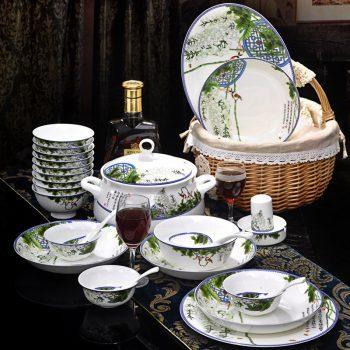 ZPK-227景德镇陶瓷碗盘餐具套装中式家用碗碟釉中彩餐具高档56头春色满园