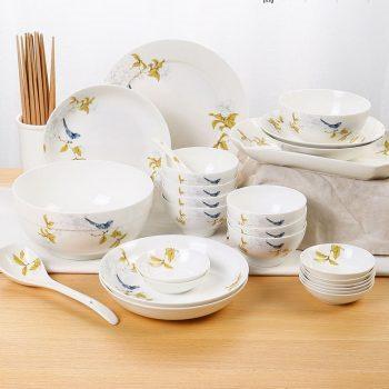 ZPK-229景德镇陶瓷餐具套装碗盘组合中式简约碗碟套装家用30/50/60头秋锦
