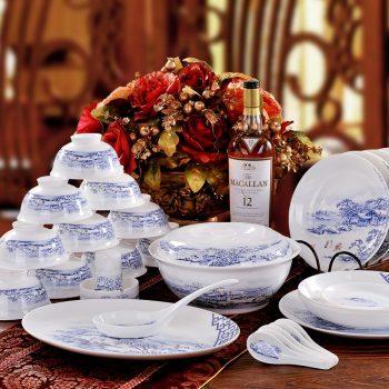 ZPK-231景德镇陶瓷56头陶瓷青花骨瓷骨瓷餐具套装碗盘碟勺瑞雪兆丰年