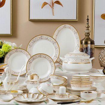 ZPK-232景德镇陶瓷欧式骨瓷碗筷陶瓷器高脚套碗盘子中式餐具56头珠联璧合