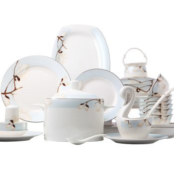 ZPK-233景德镇陶瓷骨瓷餐具碗碟套装家用欧式创意碗盘组合60头谢庭玉兰