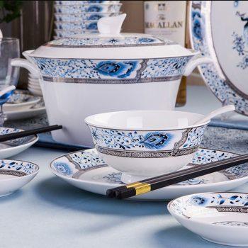 jh-03景德镇56头骨瓷餐具厂家批发家用碗盘酒店用瓷礼品瓷 白金孔雀
