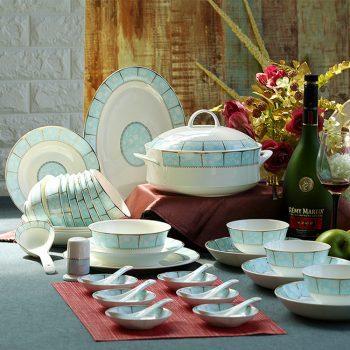 mj-11景德镇陶瓷骨瓷餐具套装 中式家用碗碟盘创意套装 58头小时代