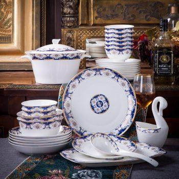 mj-shengbo-01景德镇骨瓷碗碟套装家用60头餐具碗盘陶瓷欧式金边创意组合中国梦