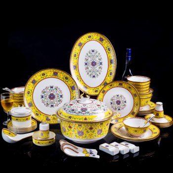 ZPK-241景德镇陶瓷餐具套装家用创意骨瓷中式珐琅彩汤碗餐具60头帝王黄