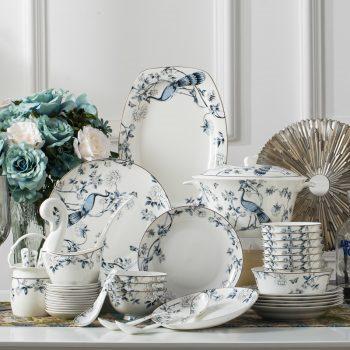 ZPK-243 景德镇陶瓷骨瓷餐具中式家用碗盘碗碟套装厂家直销60头孔雀蓝