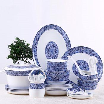ZPK-254-景德镇陶瓷骨瓷碗碟套装家用中式餐具套装青花玲珑瓷58头一路繁华
