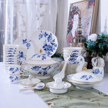 ZPK-256-景德镇陶瓷餐具套装家用碗碟套装骨瓷碗盘套装60头镶金鸟语花香