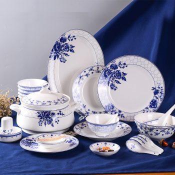 ZPK-258-景德镇青花瓷陶瓷餐具套装中式骨瓷碗碟套装家用碗盘子 50头蓝田