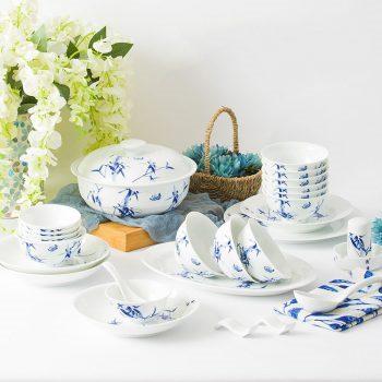 ZPK-259 景德镇陶瓷家用骨瓷餐具套装釉中彩手绘中式青花瓷套装56头竹韵