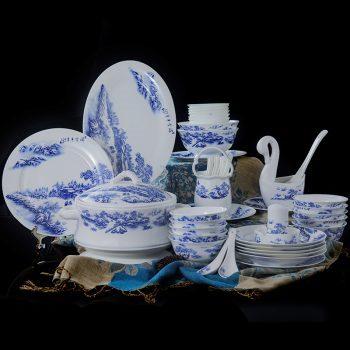 ZPK-260 景德镇陶瓷碗碟套装60头瑞雪丰年骨瓷餐具套装中式家用简约套装