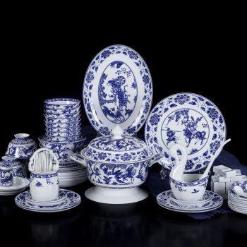 ZPK-240景德镇餐具套装青花瓷碗套装骨瓷碗碟中式瓷器家用碗盘饭碗鬼谷子下山