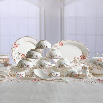 ZPK-244 景德镇陶瓷骨瓷餐具欧若拉套装碗家用碗具婚庆彼岸花46头