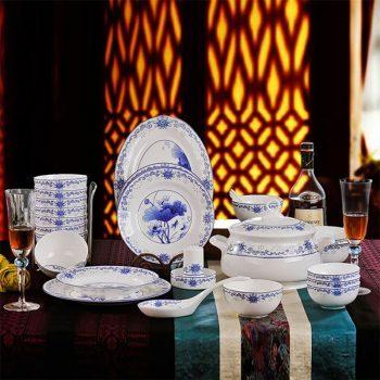 ZPK-251-景德镇陶瓷器 56头骨瓷餐具套装碗盘碟 青花瓷碗套装青花玲珑荷花