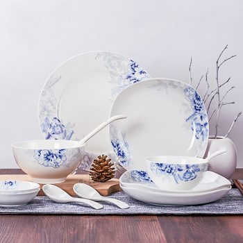 ZPK-250-景德镇陶瓷青花瓷餐具家用骨瓷碗盘中式釉中彩碗碟套装56头馨玉