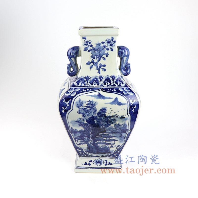盛江陶瓷 仿古青花双耳开窗山水花插花瓶