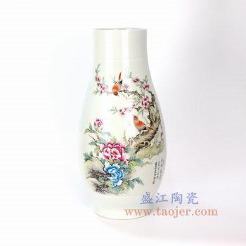 RYXD09_景德镇陶瓷 手绘粉彩花开富贵花插花瓶