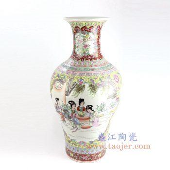 RZAI05_景德镇陶瓷 仿古手绘粉彩仕女图鱼尾瓶