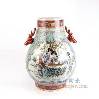 RZAI06 景德镇陶瓷 仿古手绘粉彩仕女图双耳福筒瓶