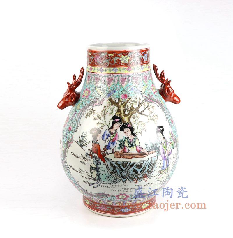 盛江陶瓷 仿古手绘粉彩仕女图双耳福筒瓶