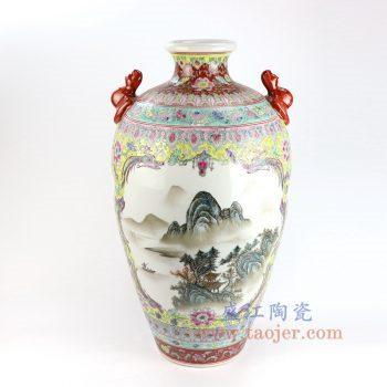 RZAI07_景德镇陶瓷 仿古手绘粉彩山水图双耳花插花瓶