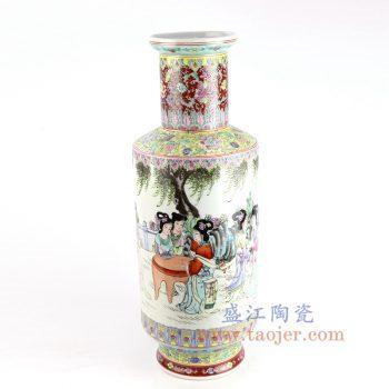 RZAI10_景德镇陶瓷 仿古手绘粉彩仕女图棒槌瓶
