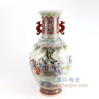RZAI11_景德镇陶瓷 仿古手绘粉彩童子图双耳花插花瓶