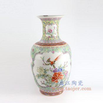 RZAI12_景德镇陶瓷 仿古手绘粉彩牡丹花鸟花瓶