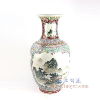 RZAI14_景德镇陶瓷 仿古手绘粉彩开窗山水图花瓶
