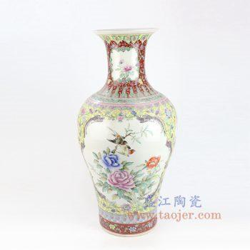RZAI15_景德镇陶瓷 仿古手绘粉彩开窗牡丹花鸟鱼尾瓶