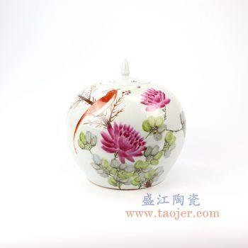 RZIH08_景德镇陶瓷 民国粉彩花鸟西瓜罐带盖古玩古董