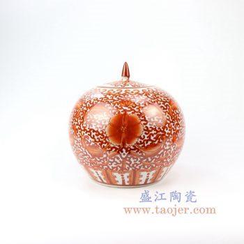 RZIH09_景德镇陶瓷 纯手工矾红缠枝带盖西瓜罐