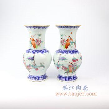 RZIH12_景德镇陶瓷 仿古手绘人物花菇花瓶对瓶