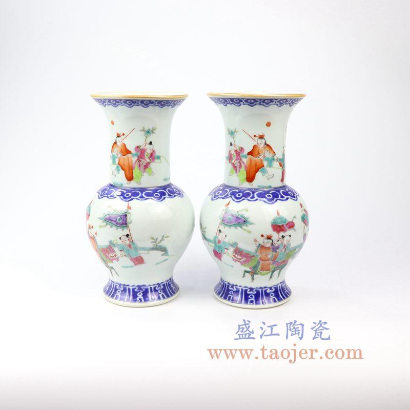 盛江陶瓷 仿古手绘人物花菇花瓶对瓶