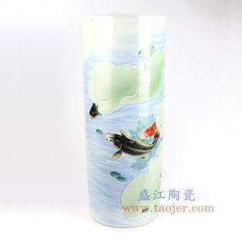 RZNP01_景德镇陶瓷 纯手工 粉彩鱼草图 伞筒箭筒