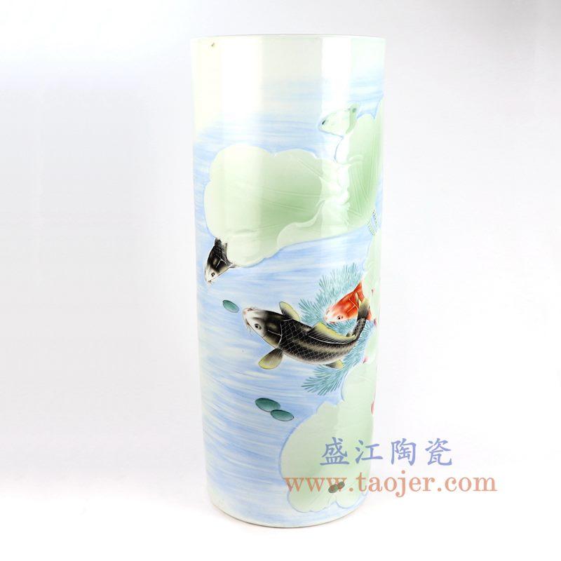 盛江陶瓷 纯手工 粉彩鱼草图 伞筒箭筒